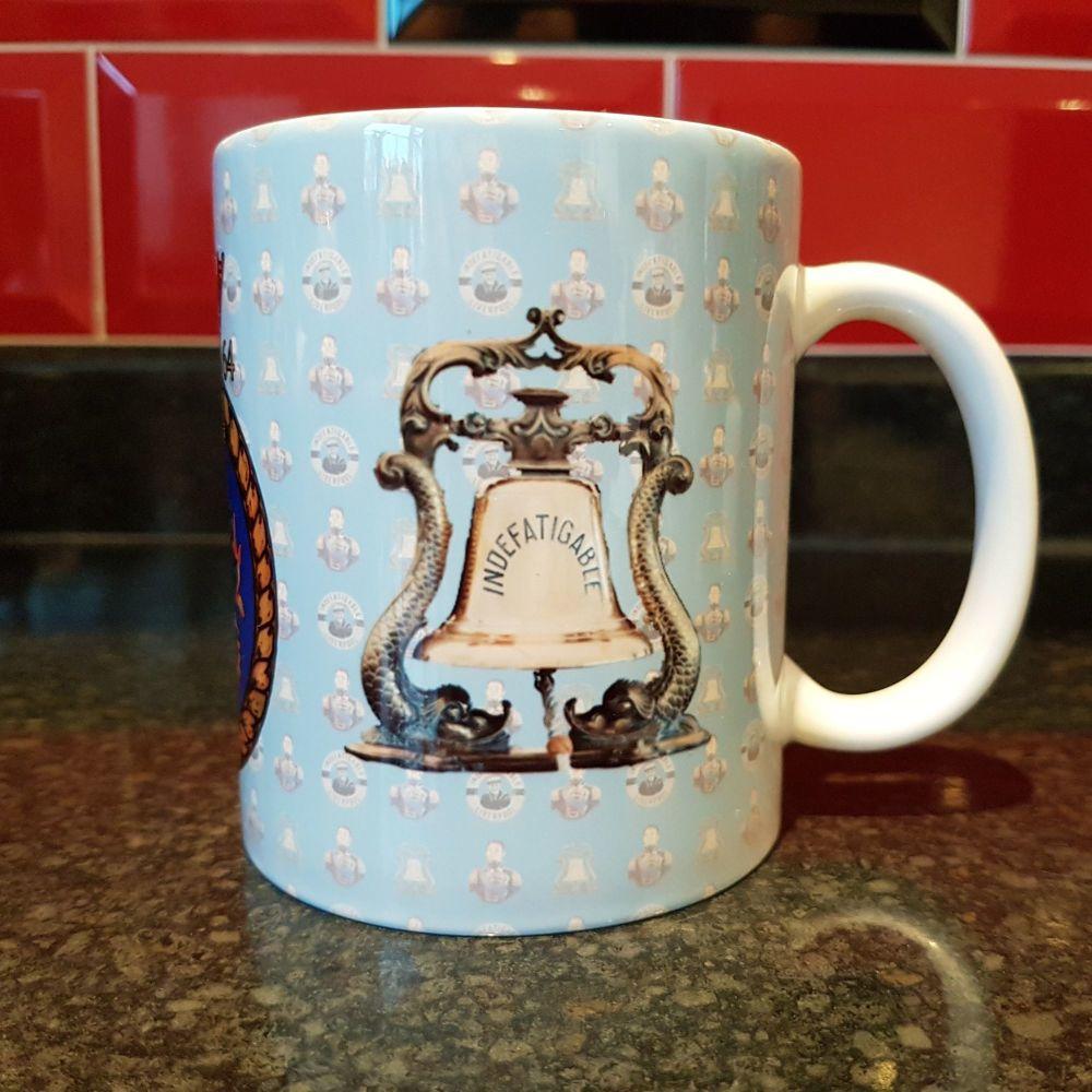 Mug I Indefatigable Bell, Indefatigable 1864 badge & King Billy reunion col