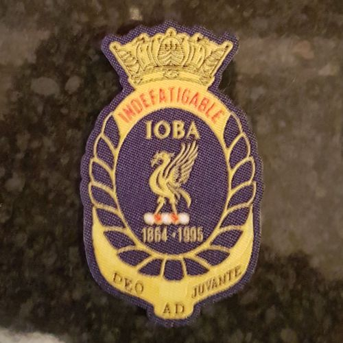 Cloth Badge to sew on Indefatigable Old Boys Association collected from reu