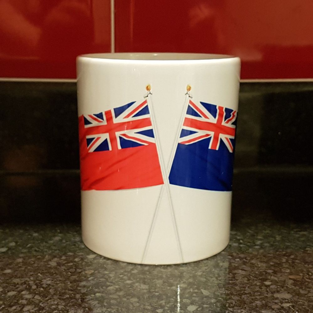 Mug L Crossed flags Indefatigable with Red Ensign collected