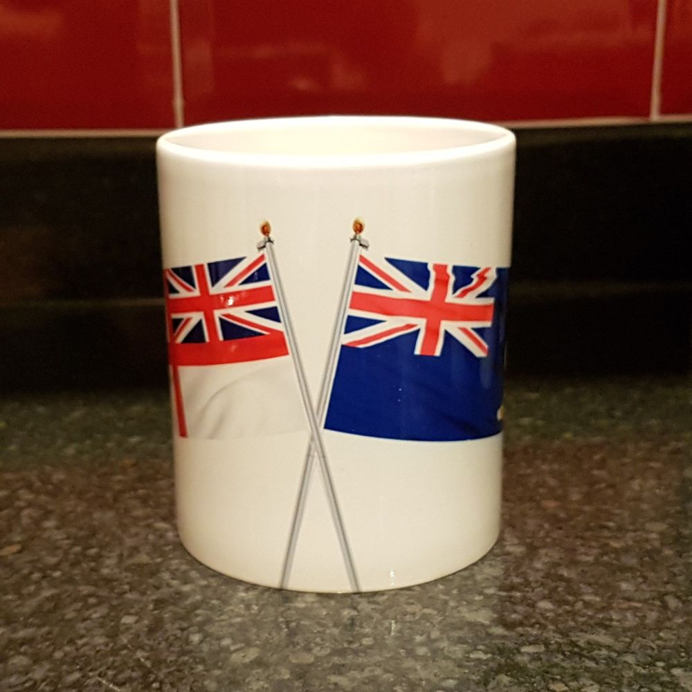 Mug M Crossed flags Indefatigable with White Ensign collected