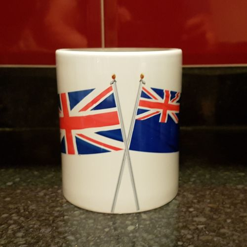 Mug N Crossed flags Indefatigable with Union flag collected