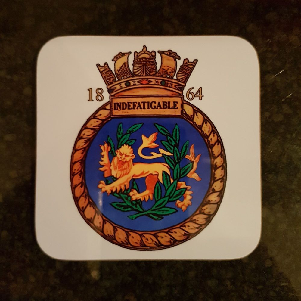Mugs coaster wooden Indefatigable 1864 badge reunion collection