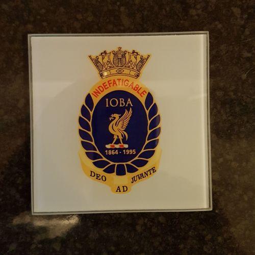 Mugs coaster glass Indefatigable OBA badge reunion collection