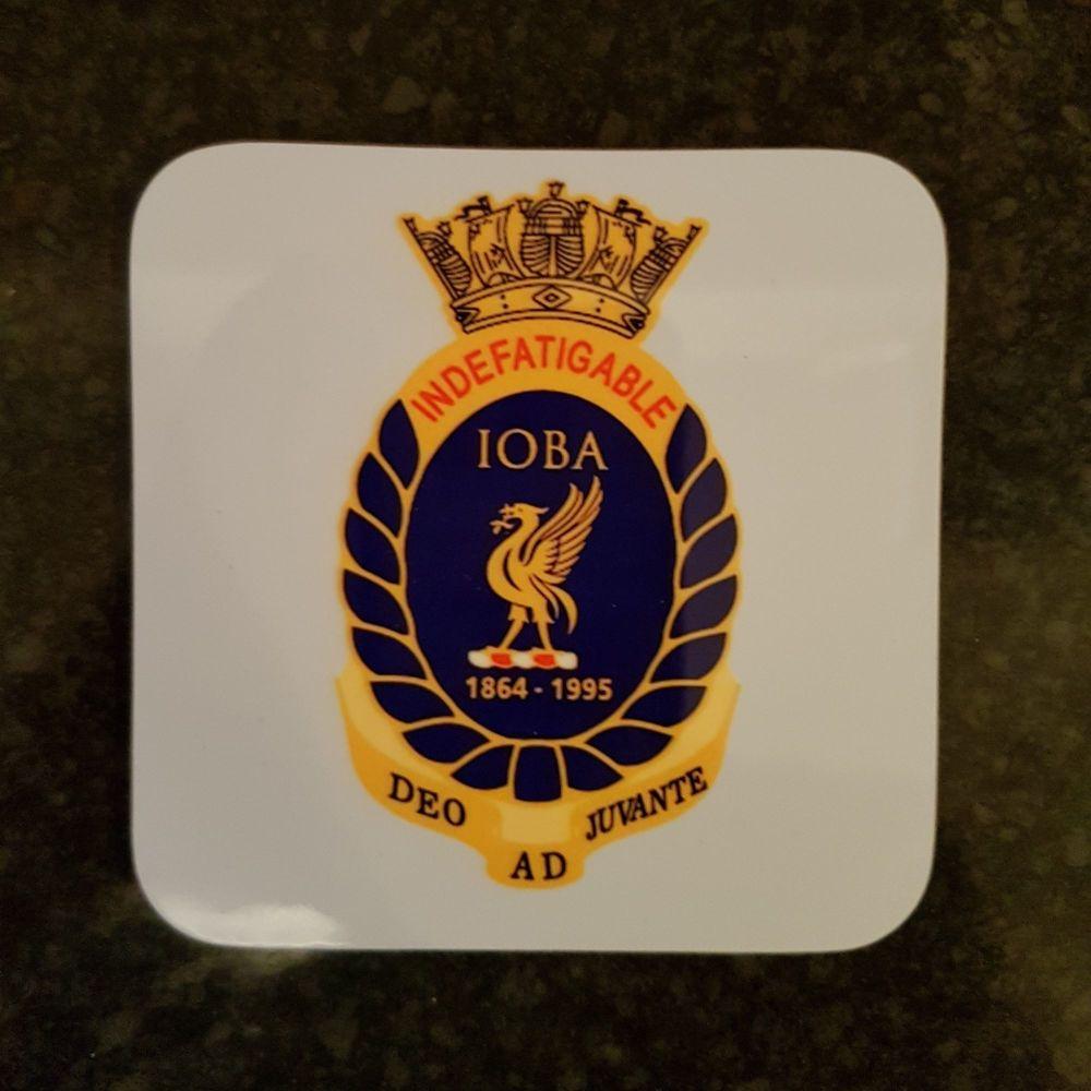 Mugs coaster wooden Indefatigable OBA badge reunion collection