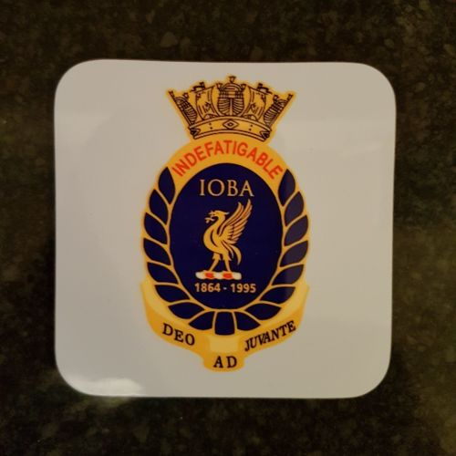 Mugs coaster wooden Indefatigable OBA badge reunion collection