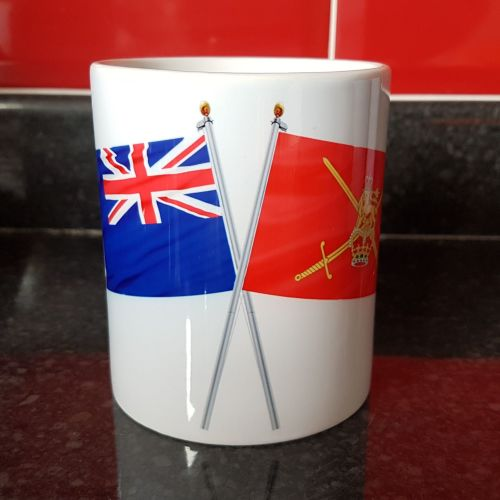 Mug L Crossed flags Indefatigable with British Army