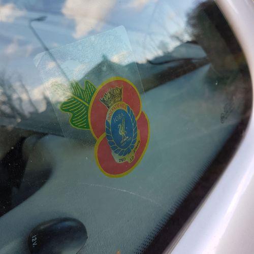 Badge Indefatigable Old Boys Association car window sticker