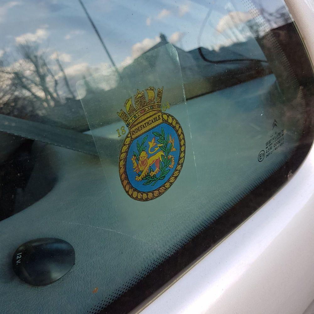 Badge Indefatigable 1864 car window sticker