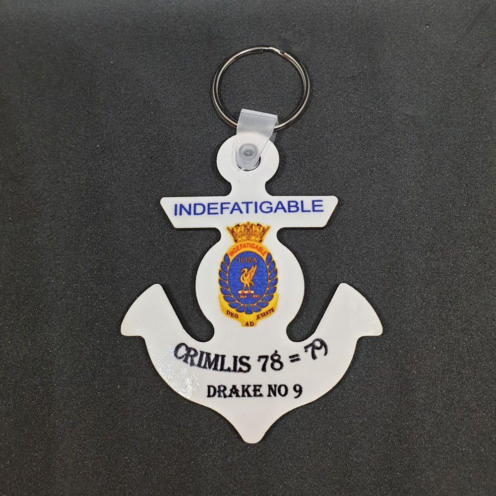 Key/bag Ring Indefatigable OBA badge on an anchor personalised