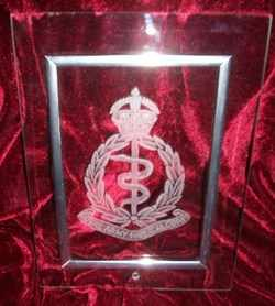ROYAL ARMY MEDICAL CORPS BADGE ON GLASS PLAQUE BY ROLLDOVE STUDIO