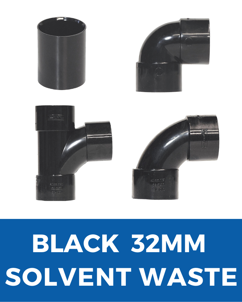 Black Aquaflow Solvent Waste 32mm