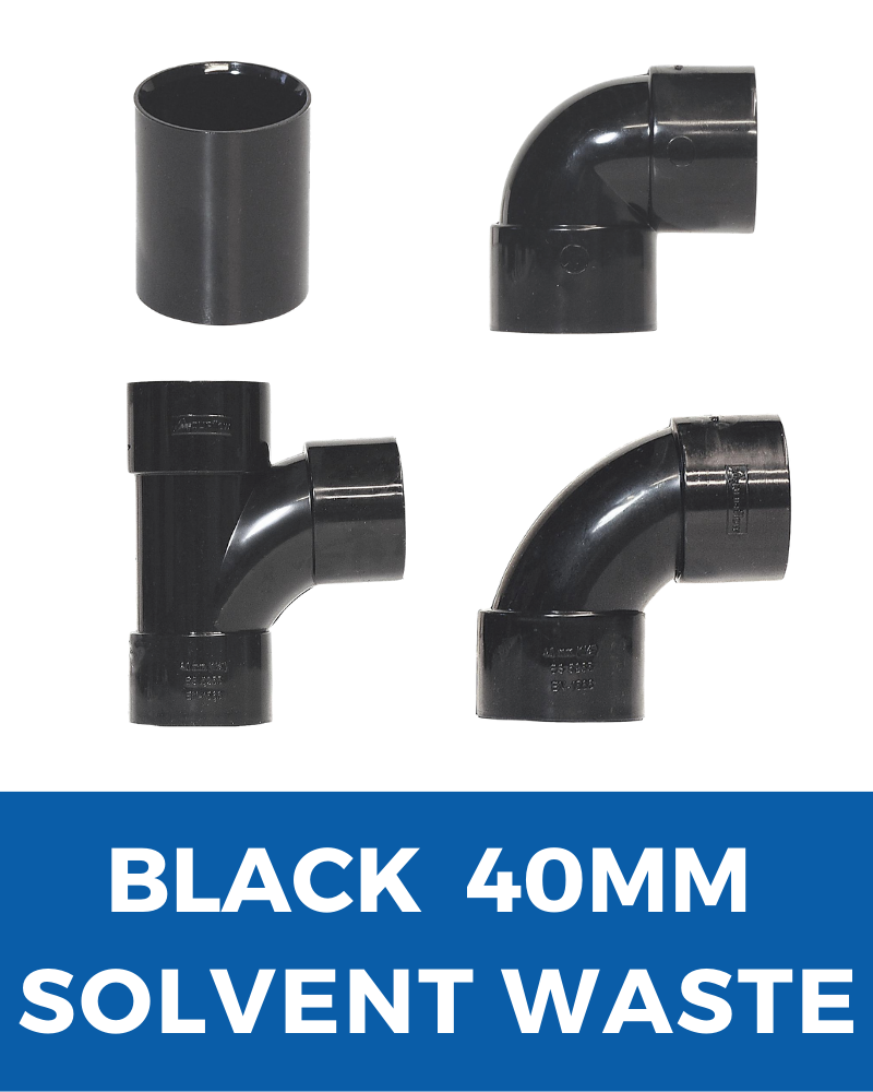 Black Aquaflow Solvent Waste 40mm
