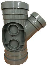 160mm x 110mm Branch 45' Triple Socket Pushfit Grey