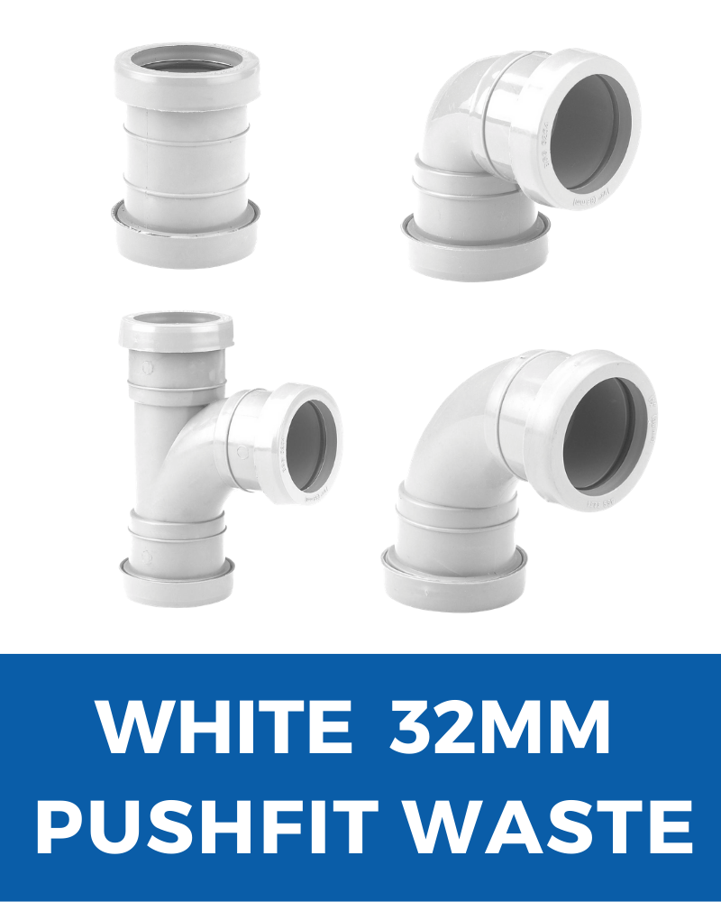 32mm White Push Fit Waste