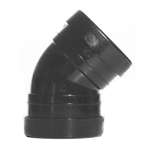 Black 110mm Push Fit 45 Degree Double Socket Bend