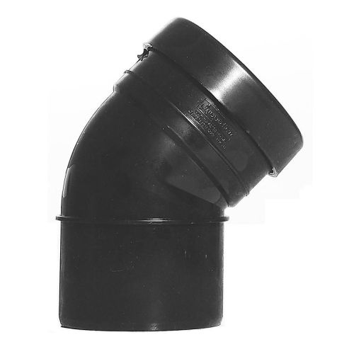 Black 110mm Push Fit 135 Degree Single Socket/Spigot Bend