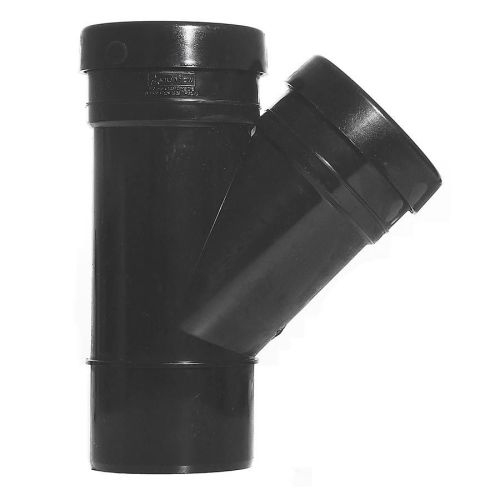 Black 110mm Push Fit 45 Degree Double Socket/Spigot Branch