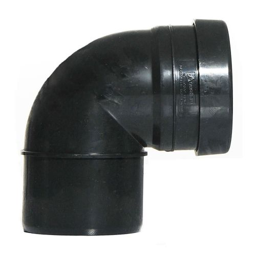 Black 110mm Push Fit 90 Knuckle Bend Single Socket
