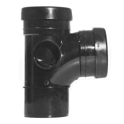 Black 110mm Push Fit 92 Degree Spigot/Double Socket Branch