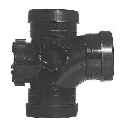 Black 110mm Push Fit 92.5 Access Door Branch Triple Socket