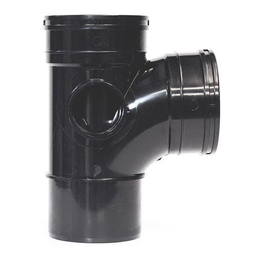 Black 110mm Solvent 92.5 Branch Double Socket 110mm Solvent