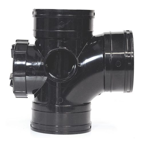 Black 110mm Solvent Access Door Branch Triple Socket