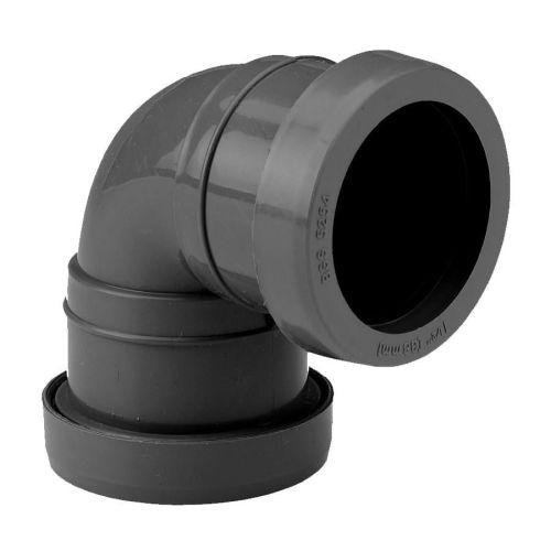 Black Push Fit 32mm 90 Knuckle Bend Waste