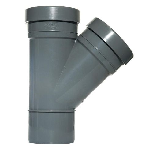 Grey 110mm Push Fit 135 Degree Double Socket/Spigot Branch