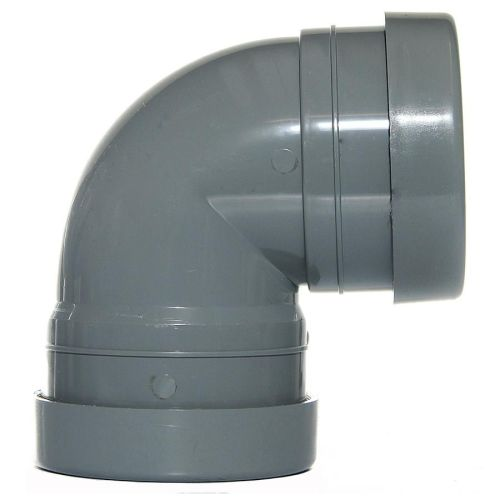 Grey 110mm Push Fit 90 Knuckle Bend Double Socket
