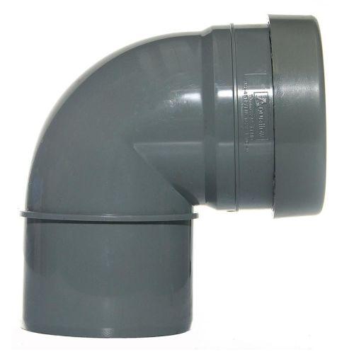 Grey 110mm Push Fit 90 Knuckle Bend Single Socket