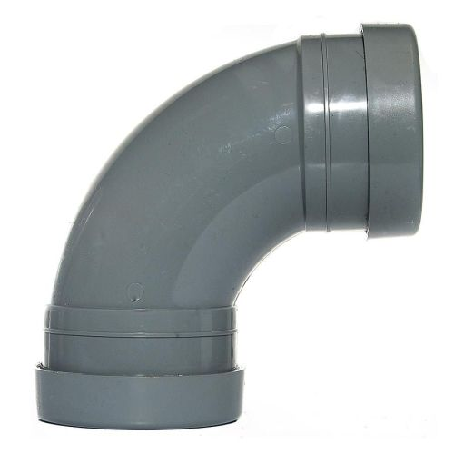 Grey 110mm Push Fit 92 Degree Double Socket Bend