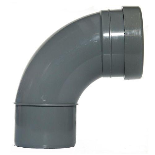 Grey 110mm Push Fit 92 Degree Single Socket/Spigot Bend
