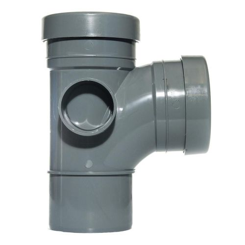 Grey 110mm Push Fit 92 Degree Spigot/Double Socket Branch