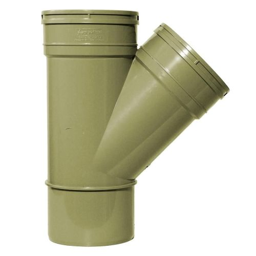 Olive Grey 110mm Solvent 135 Double Socket Branch