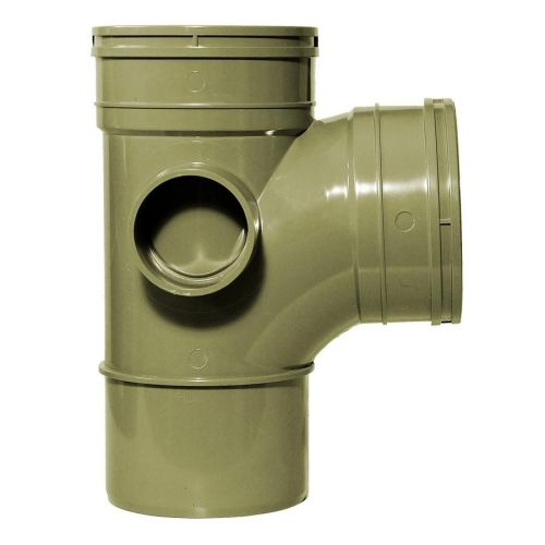 Olive Grey 110mm Solvent 92 Branch Double Socket