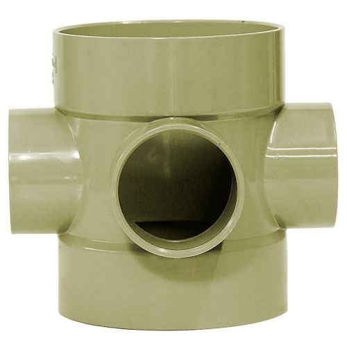 Olive Grey 110mm Solvent Bossed Pipe Connector with 50mm boss