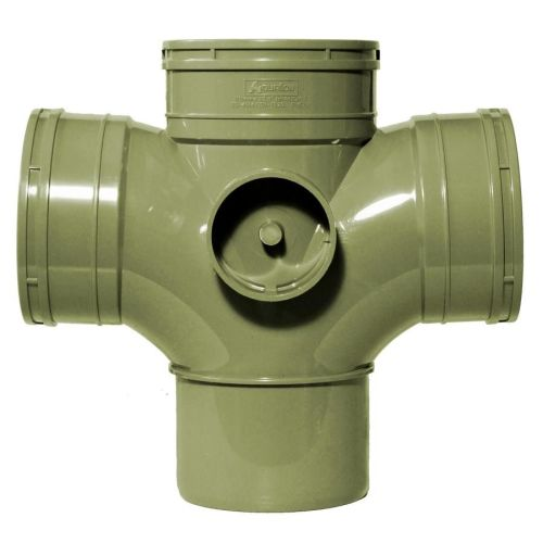Olive Grey 110mm Solvent Double Socket Branch 50mm Boss