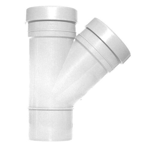White  110mm Push Fit 45 Degree Double Socket/Spigot Branch