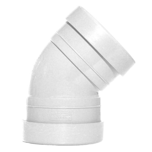 White 110mm Push Fit 45 Degree Double Socket Bend