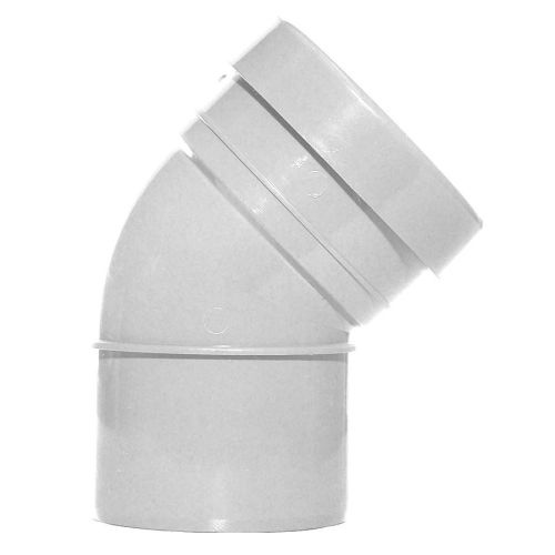 White 110mm Push Fit 45 Degree Single Socket/Spigot Bend