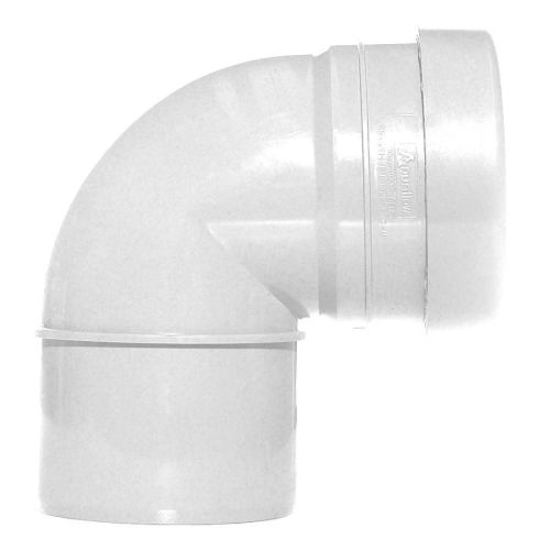 White 110mm Push Fit 90 Knuckle Bend Single Socket
