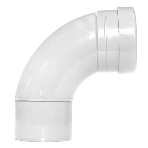 White 110mm Push Fit 92 Degree Single Socket / Spigot Bend