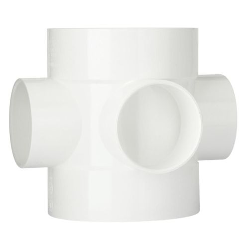 White 110mm Push Fit Bossed Pipe Connector