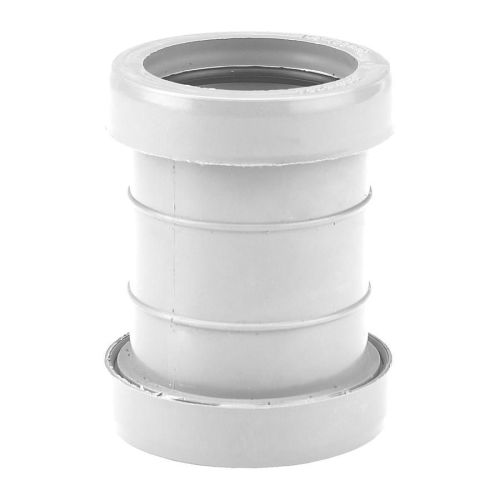 White 32mm Push Fit Waste Straight Coupling