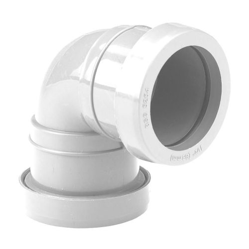 White 40mm Push Fit Waste 90 Knuckle Bend