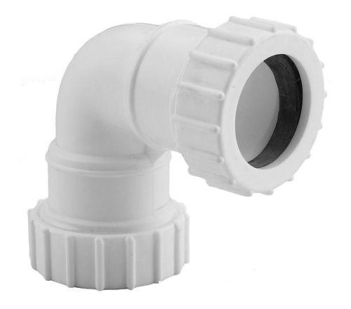 White 40mm Compression Waste 90 Bend