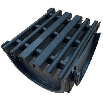 Channel Drain Corner with Plastic Grid