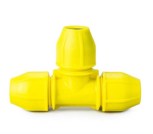 Yellow 25mm Gas Equal Tee
