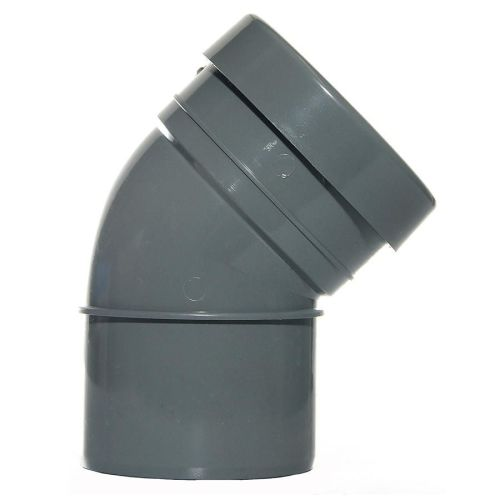 160mm Single Socket Bend 135' Pushfit Grey