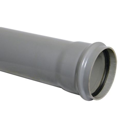 160mm Single Socket Pipe 4m Pushfit Grey